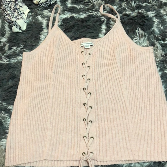 American Eagle Outfitters Tops - Pink knit tank top